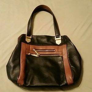 Perlina Black and Tan Leather Bag